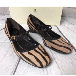 Kate Spade Tan Tiger Hair Mary Jane Shoes 5.5